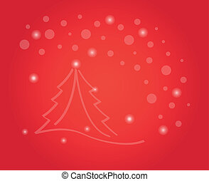 christmas card with tree and stars
