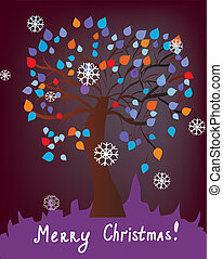 Christmas card with tree at night