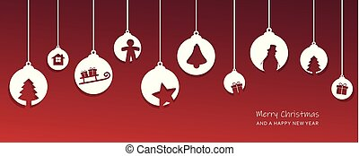christmas card with tree balls decoration red and white