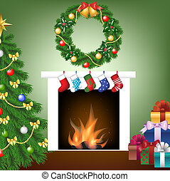 tree, fire place, socks, gifts and garland