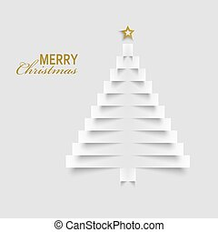Christmas card with tree from paper labels template