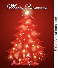 Christmas card with tree full of light