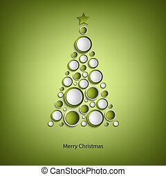 Christmas card with tree of green rings template