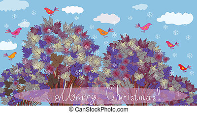 Christmas card with trees and birds
