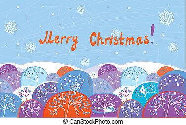 Christmas card with trees funny design