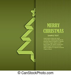 Christmas card with tucked green folded tree paper template