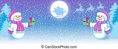 Christmas card with two funny Snowman in Santa cap with gift box against winter forest background and Santa Claus in sleigh with reindeer team flying in the sky. New Year design postcard.