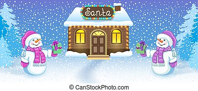 Christmas card with two funny Snowmen in Santa cap with gift box against winter forest background and Santa's workshop house