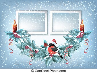 Christmas card with two photo frame, spruce garland with burning candle and bullfinch