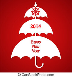 Christmas Card with Umbrellas