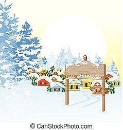 Christmas card with village
