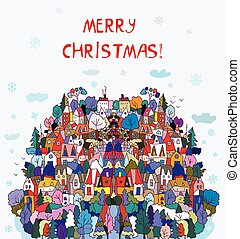 Christmas card with village,