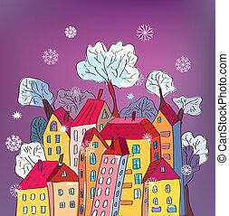 Christmas card with whimsical houses cartoon