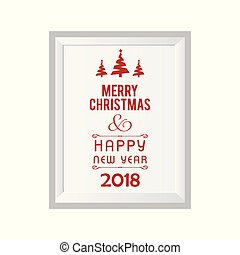 Christmas card with white frame