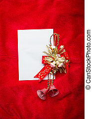 Christmas card with white paper on red