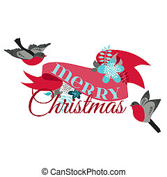 Christmas Card - with Winter Birds - for decoration, scrapbook and design in vector
