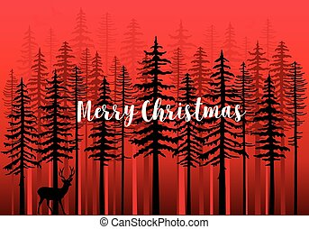 Christmas card with winter forest, vector