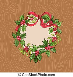 Christmas Card with Wrath on a wooden background - for ...