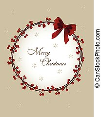 Christmas card - wreath with berries