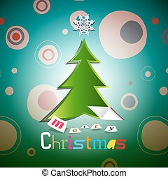 Christmas Card. Xmas Vector with Tree.