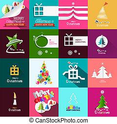 Christmas Cards Design Set. Vector Xmas Backgrounds.