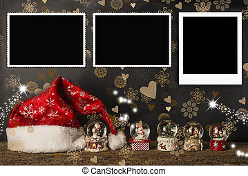 Christmas cards empty photo frames