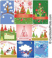 Christmas cards. Set.
