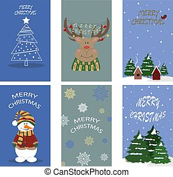 Christmas cards. Vector set for design.