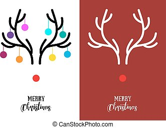 Christmas cards with antlers, vector - Simple, modern...
