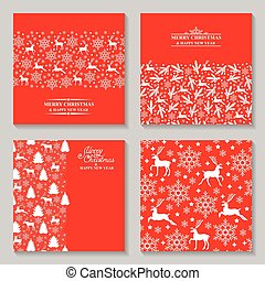 Christmas cards with deer, fir and greeting text set