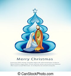 Christmas cards with nativity scene christmas tree on blue background