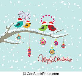 christmas cardwith bird and gift