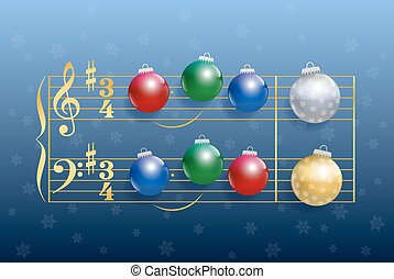 Christmas carol composed of colorful shiny christmas tree balls instead of notes. Isolated vector illustration on blue gradient snowfall background.