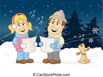 Christmas Carol - Happy children, boy and girl singing...