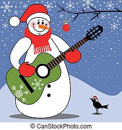 Happy snowman singing christmas carols and playing guitar,