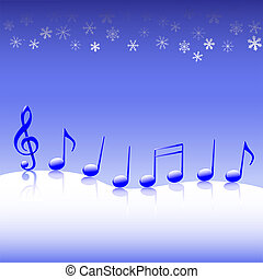 A winter parade of blue Christmas carol music notes on a snow background.