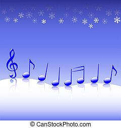 Christmas Carol Music on Snow - A winter parade of blue...