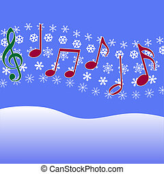 Christmas music in the air. Musical Notes, symbol of Christmas carols and other Christmas music, on a winter snow fall.