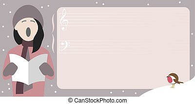 Christmas poster template with young girl singing a Christmas carol and room for text