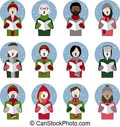 set of twelve icons of multiethnic adult christmas carol singers