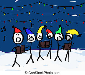 Christmas Carol singers - A child like drawing of a group of...