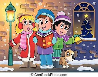 Christmas carol singers theme 5 - eps10 vector illustration.