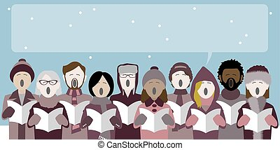 group of christmas carol singers with speech bubble for text