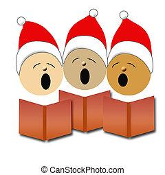 Christmas carolers in red Santa caps singing illustration