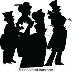 Christmas carolers over white in silhouette in retro style