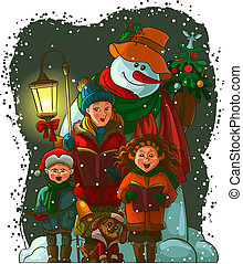 Christmas carolers. The vector art image is very...