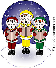 Three Christmas carolers singing in the snow.