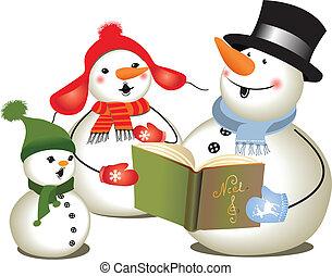 Christmas carols/ Christmas concert - Family of tree snowmen...