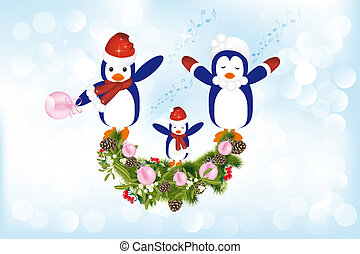 Christmas carols presented by penguins