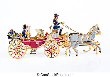 christmas carriage on white background